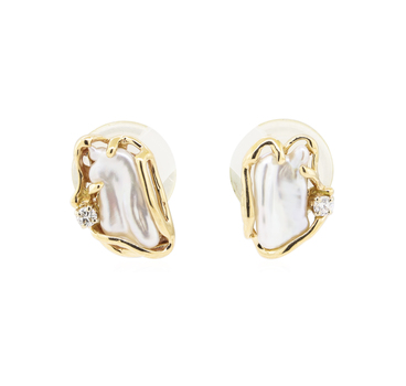 14K Yellow Gold 5.65 Grams Pearl and Diamond Earrings