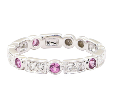 14K White Gold 2.60 Grams Pink Sapphire and Diamond Ring