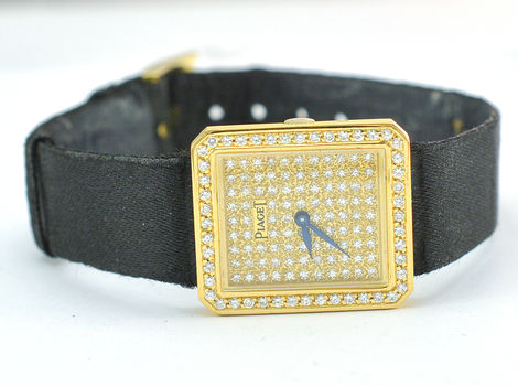 Piaget 18K Gold Custom Diamond Dial and Bezel Lady's Watch on Black Strap