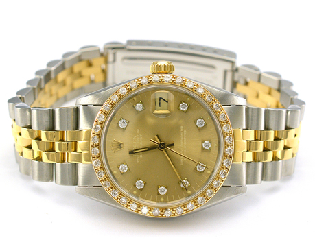 Rolex Datejust Stainless Steel and 18K Gold Custom Diamond Dial Lady's Mid Size Watch on Jubilee Bracelet