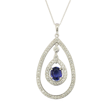 14K White Gold 8.40 Grams Sapphire and Diamond Dangling Pear Shape Style Pendant With Gold Chain