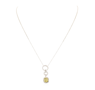 14K Two Tone Gold 6.00 Grams 0.79 Carat t.w. Round Diamond Dangle Pendant With Gold Chain