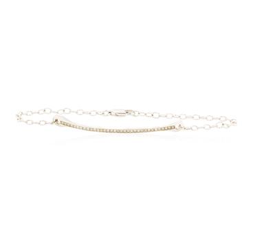 14K White Gold 3.50 Grams Diamond Bar Design Bracelet