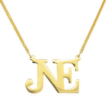 "18K Yellow Gold 7.15 Grams ""NE"" Initial Pendant Necklace"