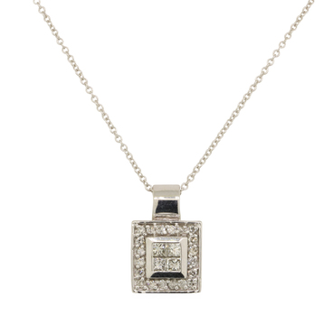 14K White Gold 4.20 Grams Princess and Round Diamond Square Pendant With Gold Chain