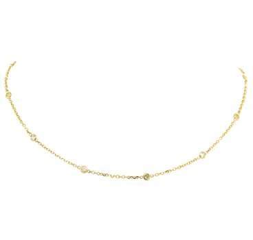 14K Yellow Gold 4.10 Grams Diamonds By The Yard Necklace