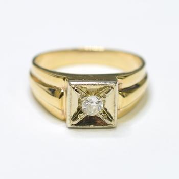 14K Yellow Gold 9.20 Grams Round Diamond High Polished Men's Ring