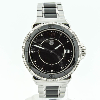 Tag Heuer Lady Formula 1 Stainless Steel & Ceramic 37mm Black Dial Watch Factory Diamonds WAH1212 NO RESERVE