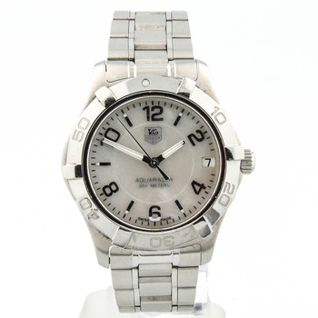 Tag Heuer Lady Aquaracer Stainless Steel 33mm Mother of Pearl Arabic Dial Watch WAF1311 NO RESERVE