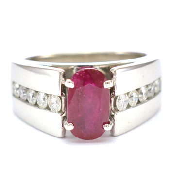 14K White Gold 9.28 Grams Ruby and Diamond Lady's Ring