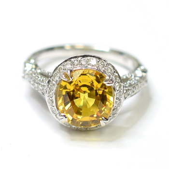 14K White Gold 6.05 Grams Yellow Sapphire and Diamond Halo Style Ring