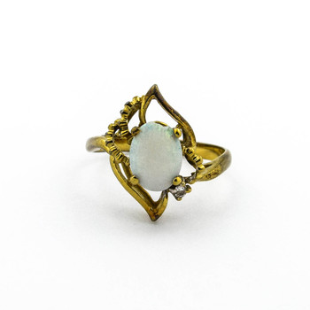 14K Yellow Gold 2.25 Grams Opal and Diamond Ring