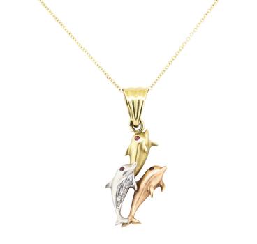14K Tri - Color Gold 6.95 Grams Dolphin Design Diamond Pendant With Chain Necklace
