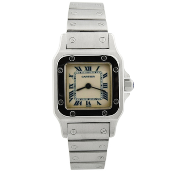Cartier Lady's Santos Galbee Stainless Steel 24mm Silver Roman Dial 1565 NO RESERVE
