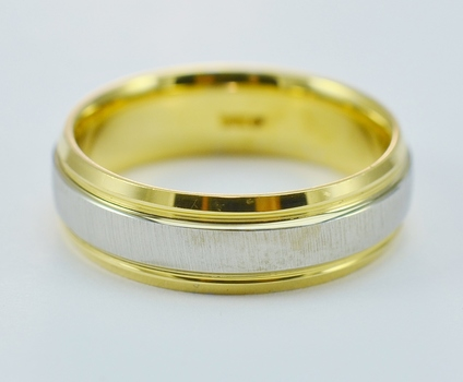 14K Two Tone Gold 10.58 Grams Satin and Gloss Finished Men's Wedding Band