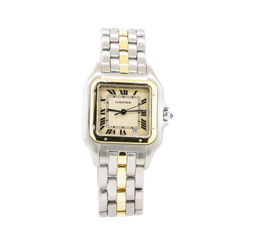 18K Yellow Gold & Stainless Steel 67.40 Grams Authentic Cartier Lady's Wristwatch