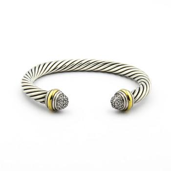 18K Yellow Gold & Silver 43.00 Grams Diamond Bangle Bracelet