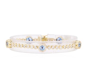 14K Yellow Gold 9.20 Grams 2.50 Carats t.w. Diamond Evil Eye Bracelet