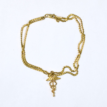 18K Yellow Gold 8.58 Grams Double Strand Link Chain Bracelet With Charm