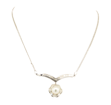 14K White Gold 12.20 Grams 1.00 Carat t.w. Baguette and Round Diamond Necklace With South Sea Pearl Center