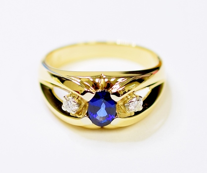 14K Yellow Gold 6.90 Grams Sapphire and Diamond High Polished Ring