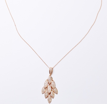 14K Rose Gold 4.55 Grams Diamond Lady's Pendant With Gold Chain
