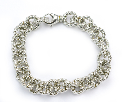 14K White Gold 32.0 Grams Rope Chain Link Style Lady's Bracelet
