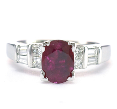 14K White Gold 9.80 Grams Ruby and Diamond Lady's Ring