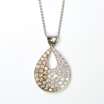 14K White Gold 14.30 Grams 6.00 Carats t.w. Round Diamond Pear Shape Pendant