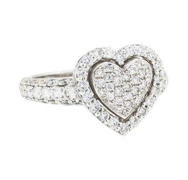 14K White Gold 5.20 Grams 1.50 Carats t.w. Diamond Heart Shape Ring