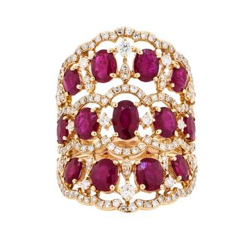 14K Rose Gold 7.90 Grams Rubies and Diamond Lady's Ring