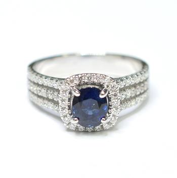 14K White Gold 6.10 Grams Sapphire and Diamond Split Shank Halo Style Ring