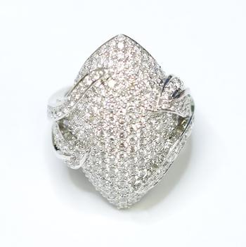 18K White Gold 14.00 Grams Pave Set Round Diamond Lady's Ring