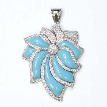 18K White Gold 30.30 Grams Turquoise and Diamond Lady's Pendant