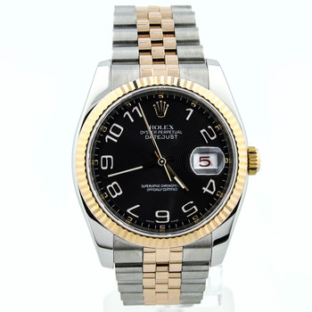 Rolex Datejust Unisex 36mm Black Arabic Dial 18kt Rose/Steel 116231