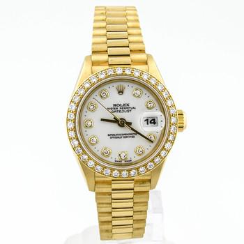 Rolex Datejust Lady 26mm White Diamond Dial 18kt Yellow Factory Diamonds 69178