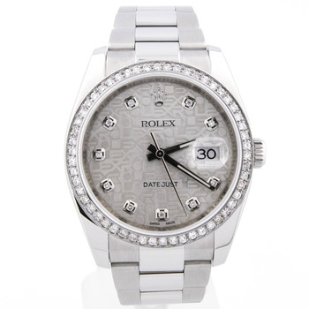 Rolex Datejust Unisex 36mm Silver Diamond Dial Steel Diamond Bezel 116200