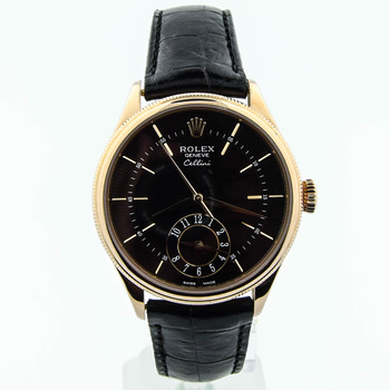 Rolex Cellini Dual Time Mens 39mm Black Guilloche Dial 18kt Rose Gold 50525