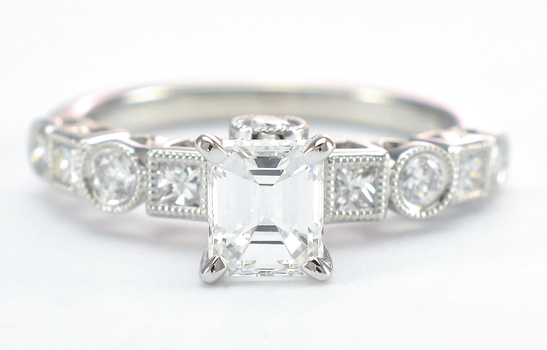 18K White Gold 4.10 Grams 0.60 Carat t.w. Princess and Round Diamond Ring With 0.79 Carat Diamond Center With EGL Certification