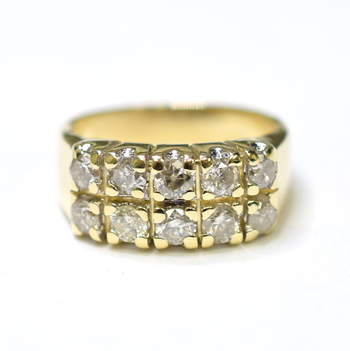 14K Yellow Gold 4.40 Grams Two Row Round Diamond Ring