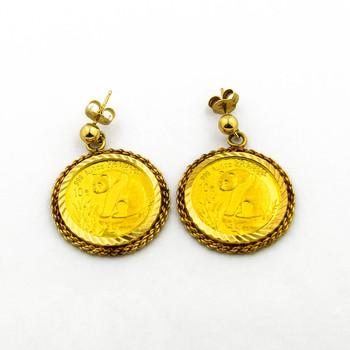 14K Yellow Gold 9.60 Grams Coin Dangle Earrings
