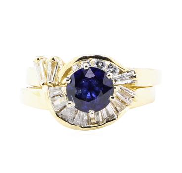 14K Yellow Gold 6.80 Grams Diamond Ring w/ Sapphire Center Stone
