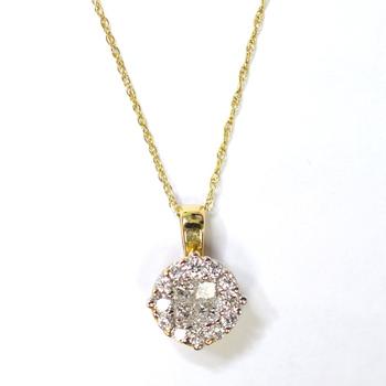 14K Yellow Gold 1.76 Grams 0.40 Carats t.w. Round Diamond Round Halo Shape Pendant