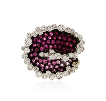 18K White Gold 16.33 Grams Pink Sapphire and Diamond Lady's Cocktail Ring