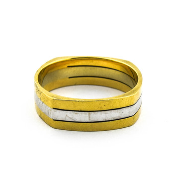14K Two Tone Gold 10.95 Grams High Polished Men's Ring