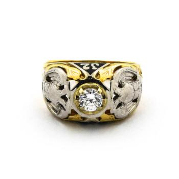 14K Two Tone Gold 10.20 Grams Diamond Dome Style Ring