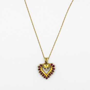 10K Yellow Gold 2.00 Grams Ruby and Diamond Heart Pendant With Chain Necklace