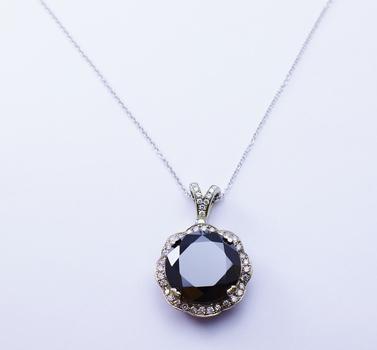 14K White Gold 13.24 Grams Round Diamond & Round Halo Style Pendant With Round Black Diamond Center Stone