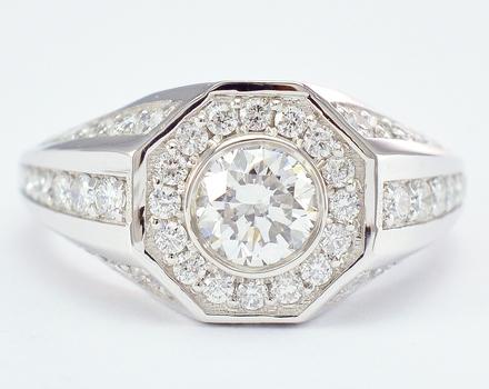 14K White Gold 5.18 Grams 1.03 Carats t.w. Diamond Ring With 0.66 Carat t.w. Round Diamond Center Stone