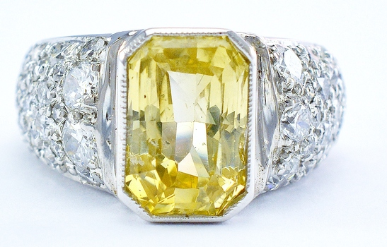 Platinum 9.90 Grams 1.00 Carat t.w. Diamond Lady's Ring With 6.28 Carats t.w. Natural Yellow Sapphire Center Stone
